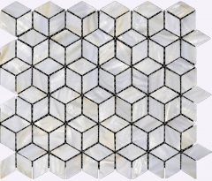 Diamond 3D Look Groutless Mother of Pearl Tiles Backsplash for Kitchen and Bathroom Wall MPT09