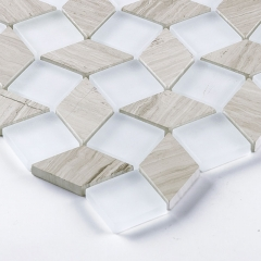 Opaque Glass and Wood Look Marble Blending Backsplash Tile for Bathroom GST05