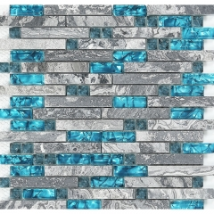 Grey Marble mixed Blue Glass Mosaic Tiles Backsplash for Bathroom and Kitchen design GST02
