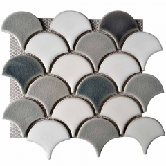 Hoary Fish Scale Porcelain Mosaic Tile with Broken Feature  for Kitchen and Bathroom wall CPT11