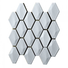 Polished White Porcelain Mosaic Tile with Diamond Feature for Backsplash and Wall CPT15