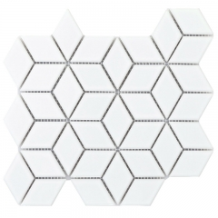 Glazed White Porcelain Mosaic Tile in Diamond Pattern for Bathroom and Kitchen CPT17