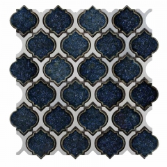 Dark Blue Crackled Porcelain Mosaic Tile with Arabesque Shape for Wall Chic Design CPT023