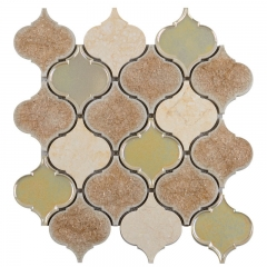 Beige Crackled Porcelain Wall Tile with Arabesque Shape for Kitchen and Bathroom CPT019
