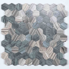 Grey Hexagon peel and stick tile with wood effect SOT1014