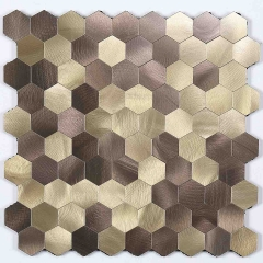 Brown Hexagon peel and stick on mosaic tile for backsplash SOT1016