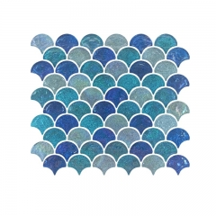 Azure glass mosaic tile in fish scale for floor and wall CGT012