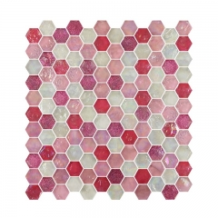 Pink Rose Glass Mosaic Tile in Hexagon Shape for Wall and Floor CGT010