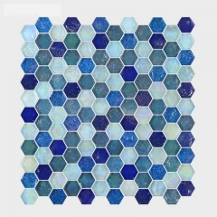 Cerulean hexagonal glass mosaic wall tile CGT014