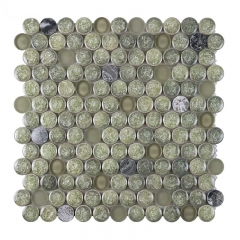Blackish Green Crackled Porcelain Mixed Aqua Opaque Glass Mosaic Tiles with Penny Round Pattern GPT101