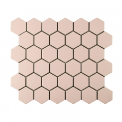 Pink Decorative Porcelain Mosaic Tiles for Bathroom Wall and Kitchen Backsplash in Hexagon CPT028