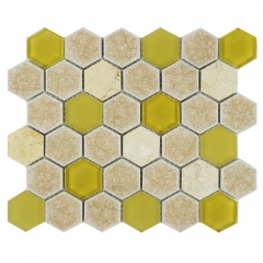 Crackled Porcelain and Opaque Glass Mosaic Tile with Hexagon Pattern Backsplash Design CPT026