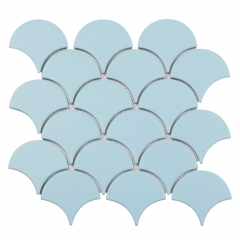 Popular Light Blue Fish Scale Porcelain Tile for Wall and Backsplash CPT110