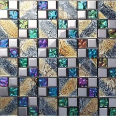 Iridescent Glass and Stainless Steel Mosaic Tile Backsplash MGT012