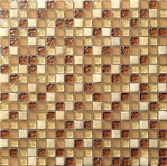 Small Glass Stone Mosaic Tile in Brown for Wall and Backsplash GST121
