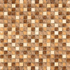 Golden Crackle Glass Stone  Mosaic Tile in Small Square for Backsplash and Wall Bathroom Design GST122