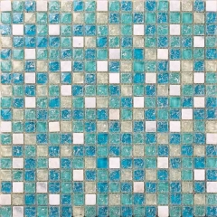 Sea Blue Glass Stone Mosaic Tile with Crackled Finish Shower and Kitchen Wall Tiles CGT017