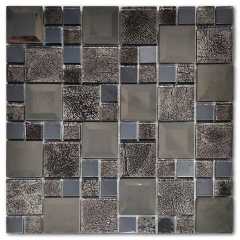 Black Glass and Stainless Steel Mosaic Tiles for Countertop & Backsplash MGT016
