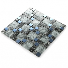 Grey Blue Crackle Glass Metal Blending Mosaic Tile Backsplash MGT018