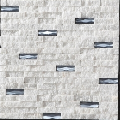 Stacked White nature stone and glass mosaic tile for backsplash wall CGT125