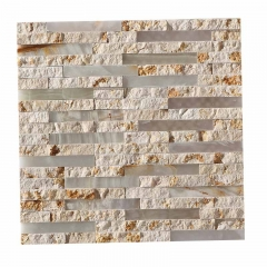Tumble Beige Nature Stone And Glass Mosaic Tile for Backsplash Wall CGT123