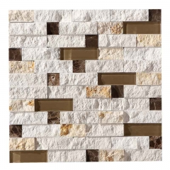 Tumble Brown Nature Stone And Glass Mosaic Tile for Backsplash Wall CGT124