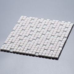 White glass and stone blending mosaic tile in square for wall GST1267