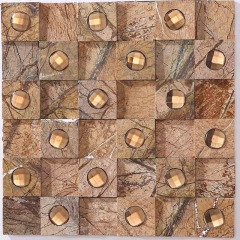 Brown Café Glass and Stone Blending Mosaic Tile for Backsplash Wall GST126