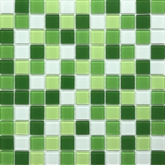 Square Green Glass Mosaic Tile for Kitchen Backsplash and Bathroom Wall CGT026