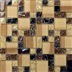 Brown Hand Painted Glass Mosaic Tile for Kitchen and Shower CGT029