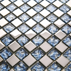 Stainless Steel and Blue Glass Mosaic Tile for Backsplash and Wall MGT020