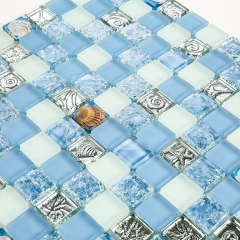 Blue and White Beach Glass and Resin Tile with Shelll Pattern for Bathroom Wall CGT027