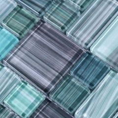 Olive Turquoise Hand Painted Glass Mosaic Tile in Square for Backsplash Wall CGT036