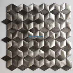 2mm 3D Rhombus Aluminum Mosaic Tile in Grey for Backsplash and Wall ALT102