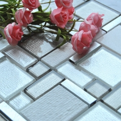 Brown White Glass Aluminum Mosaic Wall Tile for Backspalsh MGT010
