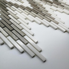 Magic Wave White and Brown Stone Mosaic Tile in Honed for Backsplash and Wall MST007