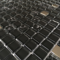 Midnight Black Glass Metal Backsplash Tile for Kitchen MGT01
