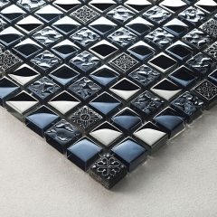 Black crystal glass and stone mosaic tile backsplas with Resin emboss GST04