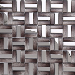 Stainless steel glass mosaic tile in taupe for backsplash and wall MGT014