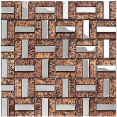 Auburn Glass and Stainless Steel Metal Mosaic Tile for Wall and Backsplash MGT017