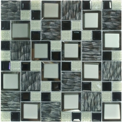 Black and Turquoise Glass Mosaic Tile in Bevel Edge for Backsplash and Wall CGT033