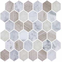 White Marble Mixed Porcelain Tile in Hexagon for Wall and Floor PST100