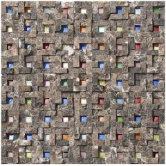 Split Face Stone Glass Mosaic Wall Tile in Colorful Design GST07