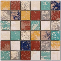 Square Vintage Unglazed Ceramic Tile in Multi Color for Backsplash and Floor CPT118