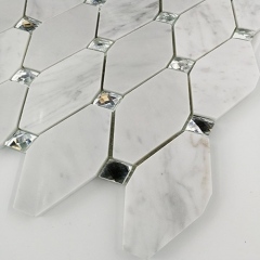 Diamond Rhombus Glass Stone Mosaic Tile in Glitter Design for Backsplash and Wall GST129