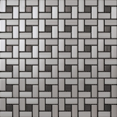 Brushed Stainless Steel Metallic Mosaic Tile for Wall SST109
