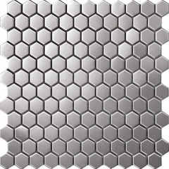Hexagon Stainless Steel Mosaic Tile Backsplash Design SST112