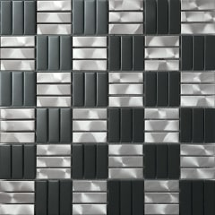 Black and White Checkerboard Brushed Stainless Steel Mosaic Tile for Wall and Backsplash SST108