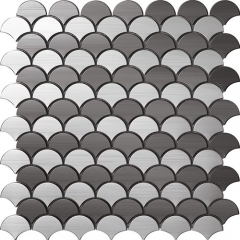 Fish Scale Stainless Steel Tile in Brushed for Wall and Backsplash SST110