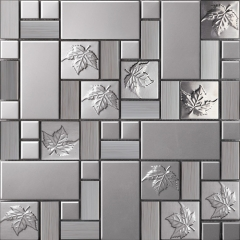 Emboss Leaf Stainless Steel Mosaic Tile Kitchen Backsplash Design SST113